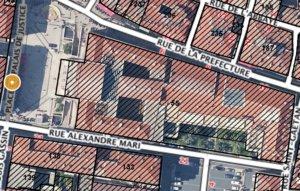 Nice palais de Justice satellite et cadasdre
