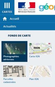 Ouverture menu Geoportail